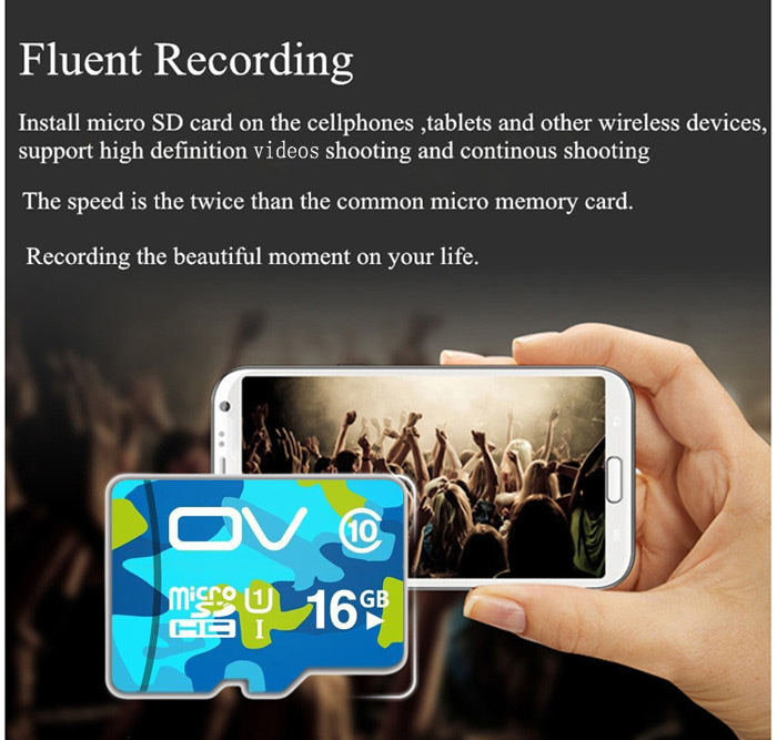 OV 16GB Micro SDHC Memory Card Camouflage Version Class 10 with 80MB/s Reading Speed 12MB/s Writing Speed