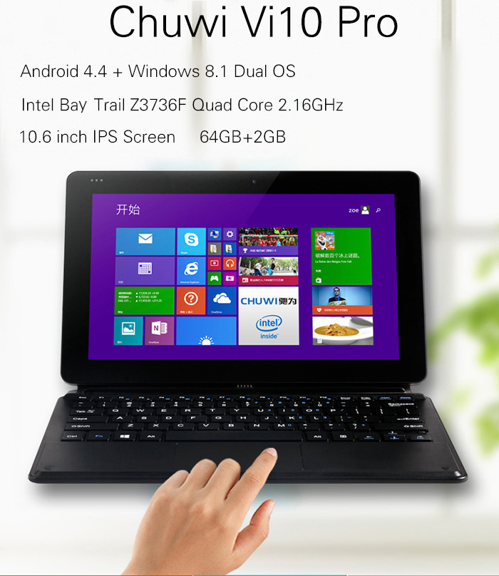 10.6 inch Chuwi Vi10 Pro Android 4.4 + Windows 8.1 Ultrabook Tablet PC Intel Z3736F 64bit Quad Core 2.16GHz 1366 x 768 IPS Screen 2GB RAM 64GB ROM WiFi OTG HDMI Functions- Black Android 4.4 + Windows 8.1