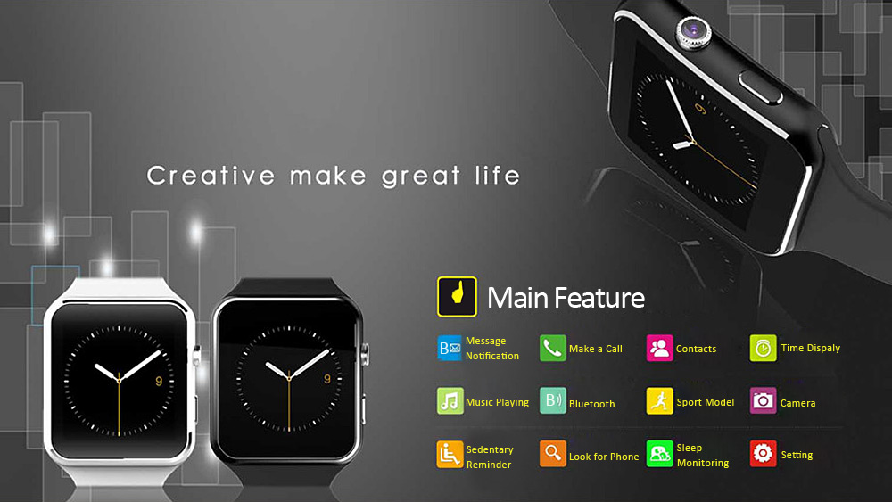 X6 Smartwatch Phone MTK6260 Sleep Monitor Pedometer Sedentary Reminder Bluetooth 3.0