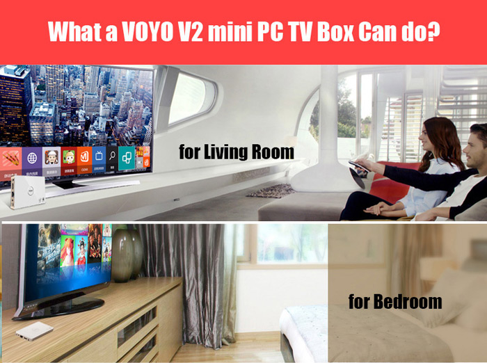VOYO V2 TV Box with 5000mAh Portable Power Charger 64GB SSD 2GB RAM 32GB ROM Windows 10 4K Mini PC WiFi Bluetooth 4.0 HDMI Intel Baytrail T Z3735 Quad Core