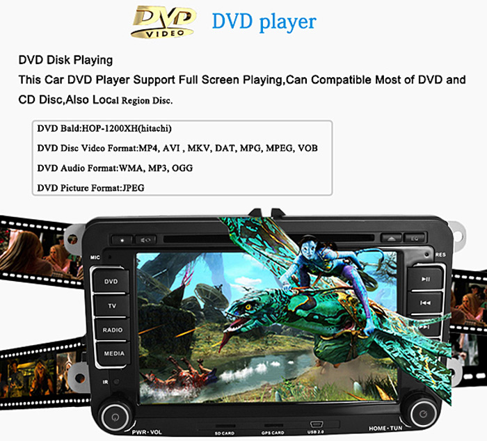 Car Entertainment Kit J - 8613MX Standard Configuration 7 - Inch Touch  Screen 1080P Video Resolution GPS DVD Player with Canbus Decorder for VW