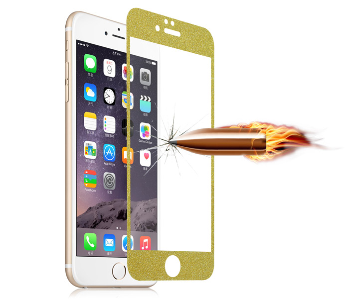 Angibabe Tempered Glass Front and Back Protector Film Kit for iPhone 6 Plus 6S Plus Shimmering Powder Design 0.3mm Ultra-thin