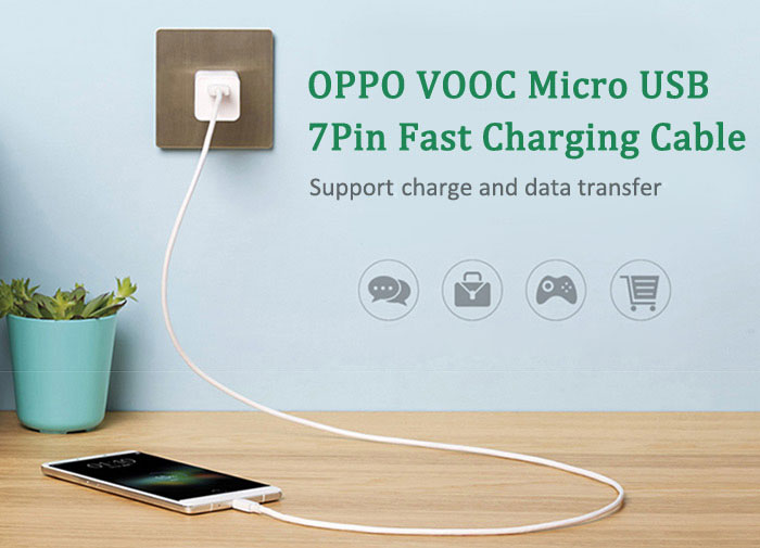 Original OPPO VOOC DL118 Fast Charging Mciro USB 7 Pin Charge Data Transfer Cable - 1m- White