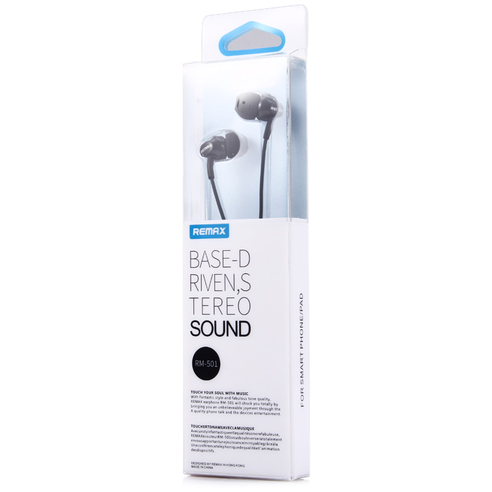Original REMAX RM-501 In-ear Stereo Earphones with Microphone Support Handsfree Calls