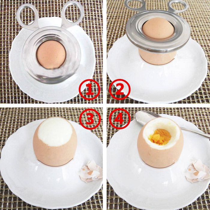 Practical Stainless Steel Boiled Egg Shell Topper Kitchen Gadget- Silver