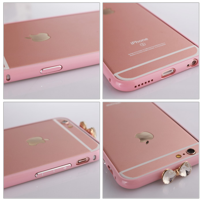 PC Bumper Frame Case for iPhone 6 / 6S / 6 Plus / 6S Plus with Bowknot Diamante Design