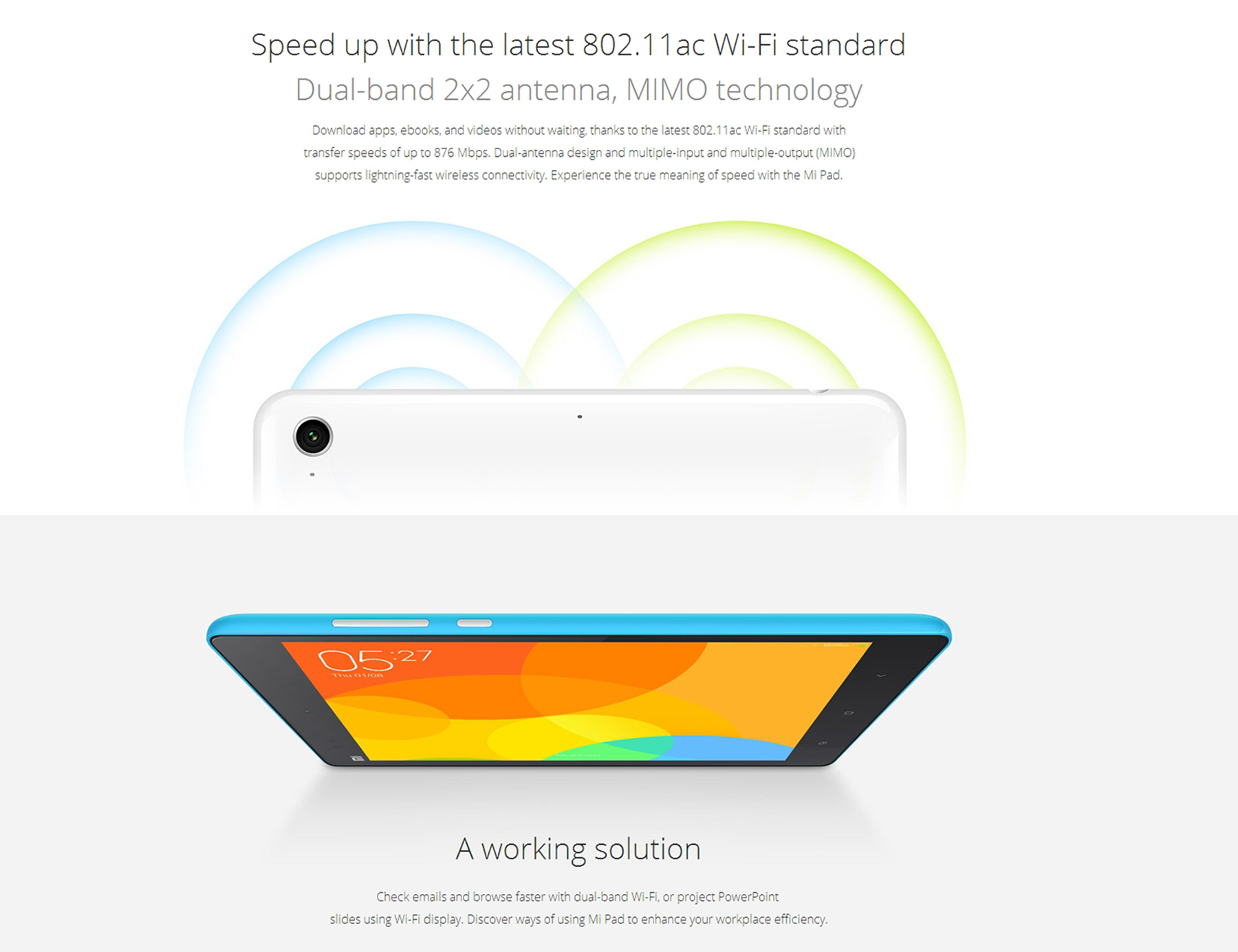 Original xiaomi mi pad 16gb rom 21874 online shopping gearbest wlan wifi 80211 abgnac supports 24ghz and 5ghz bands support video calls online support gyroscopelight sensorgravity sensordigital compass fandeluxe Images