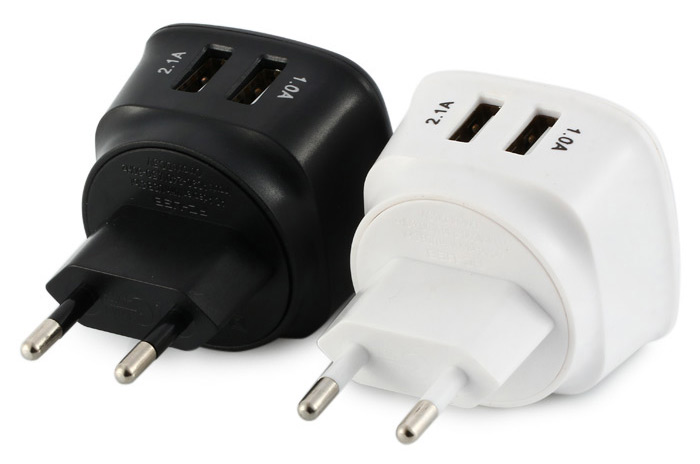 E-Strong ES-D05 Portable 5V 2.1A / 1.0A 2 Ports Dual USB Charger for Travel / Home / Office
