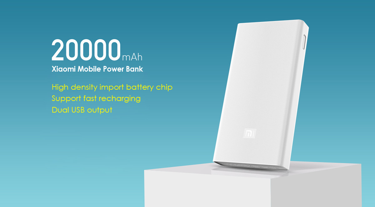 Original Xiaomi Mi 20000mah Mobile Power Bank Quick Charging 2 10000mah Slim Fast Charge Brand New And High Quality Capacity Enough For Daily Use Dual Usb Output Design Two Devices Simultaneously