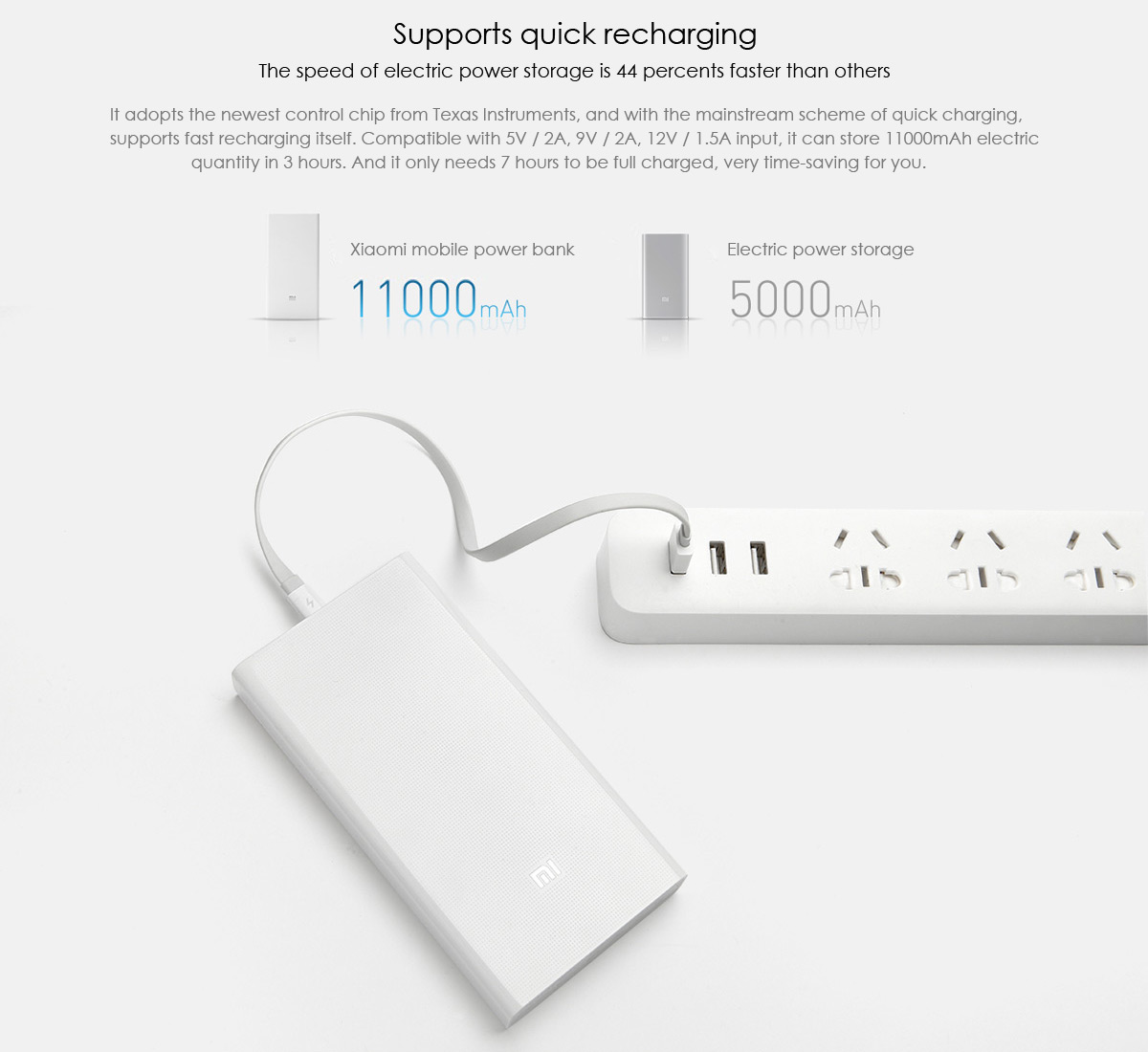 Original Xiaomi Mi 20000mAh Mobile Power Bank Portable Charger Dual USB Outputs Quick Recharging- White