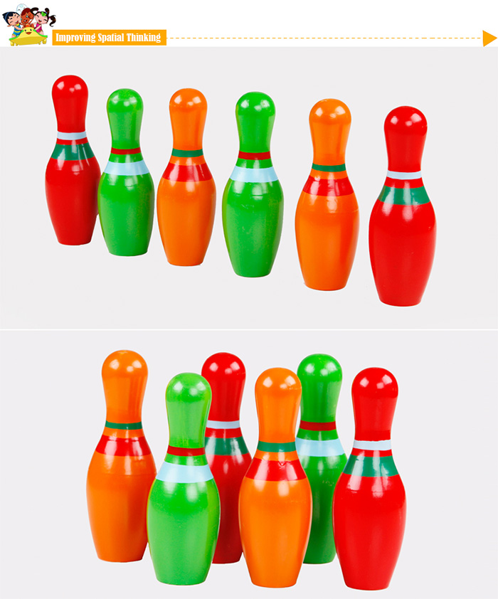 6Pcs QZM Wooden Skittle Bowling Pin Toy for Children Christmas Gift