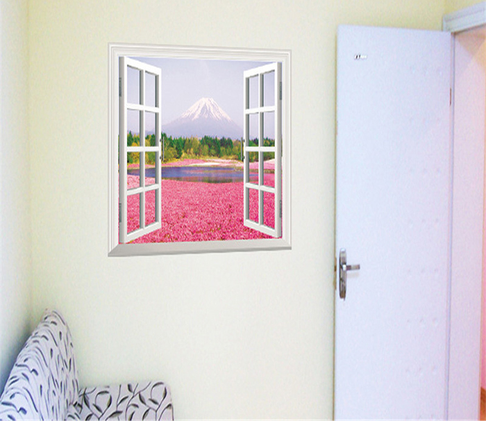 Beautiful 3D Pink Flower Sea Style Removable PVC Wall Stickers Colorful Room Window Decoration