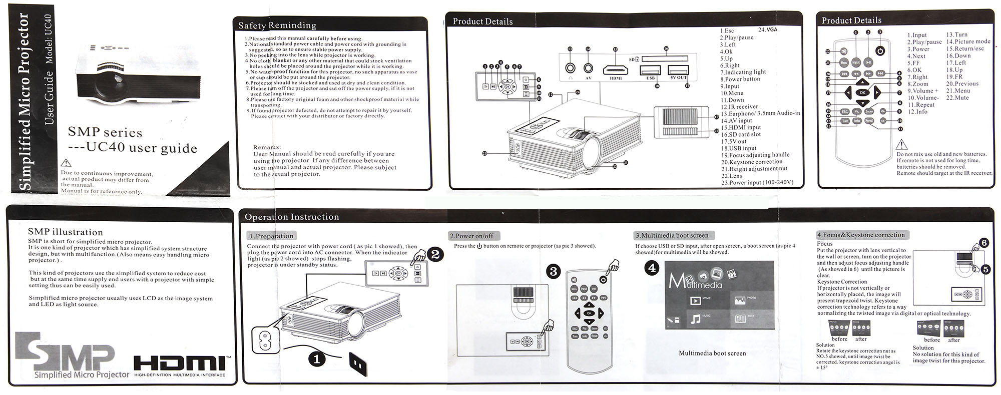 simplified micro projector instructions