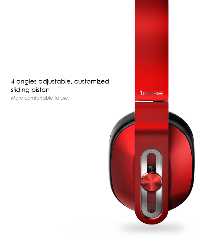 1MORE Super Bass Headphones 3.5mm Jack with Mic On-cord Control for iOS Android- Black + Red