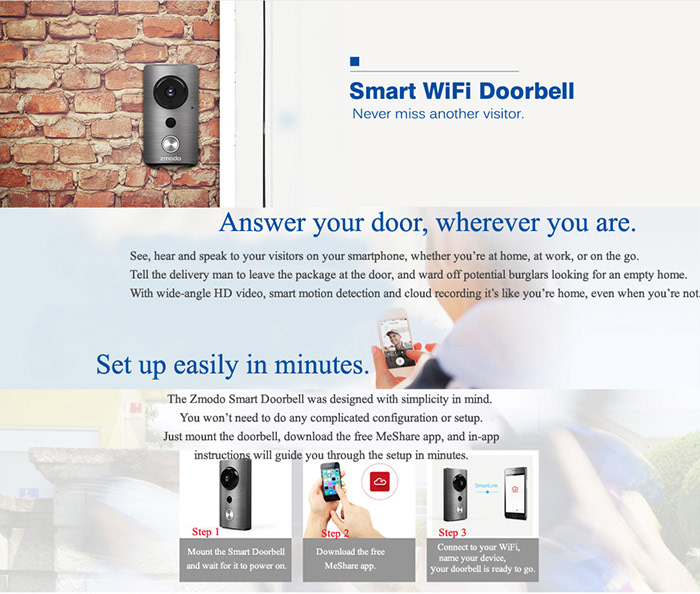 Zmodo ZH-ISA1G-WA 720P HD Camera Doorbell