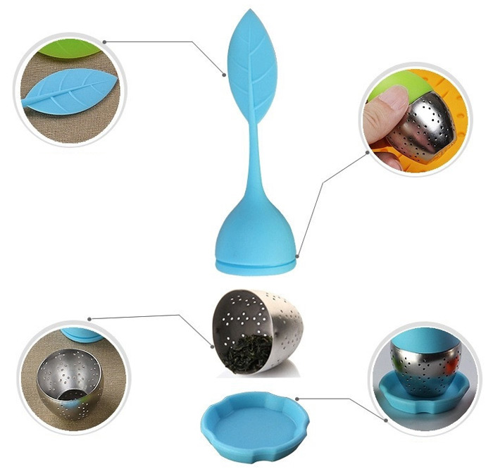 Silicone Handle Leaf Tea Infuser Steel Ball Strainer with Drip Tray- Blue