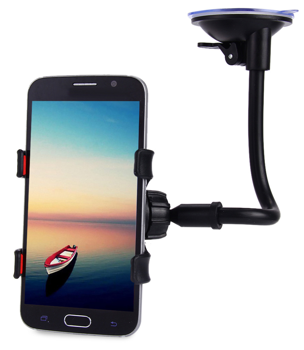 Universal 360 Degrees Rotation Long Arm Car Windshield Holder Mount Bracket Stand for Cell Phones- Black