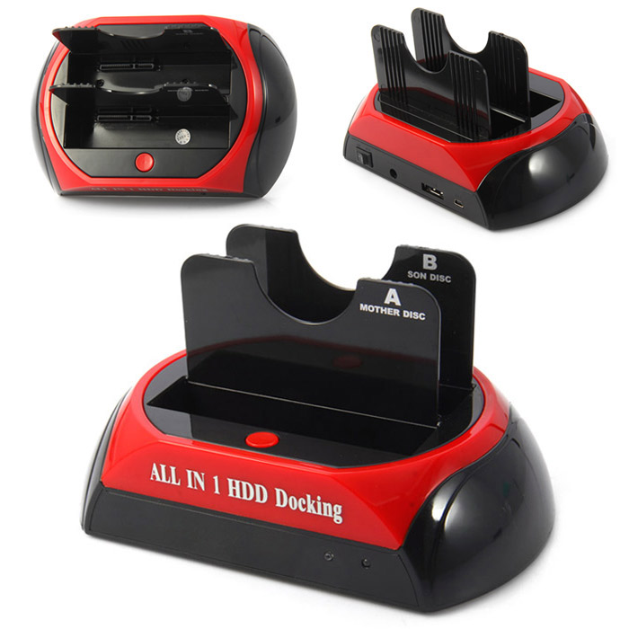 876-J USB 2.0 All in 1 Dual SATA HDD Docking 480Mbps with Card Reader / LED Indicator
