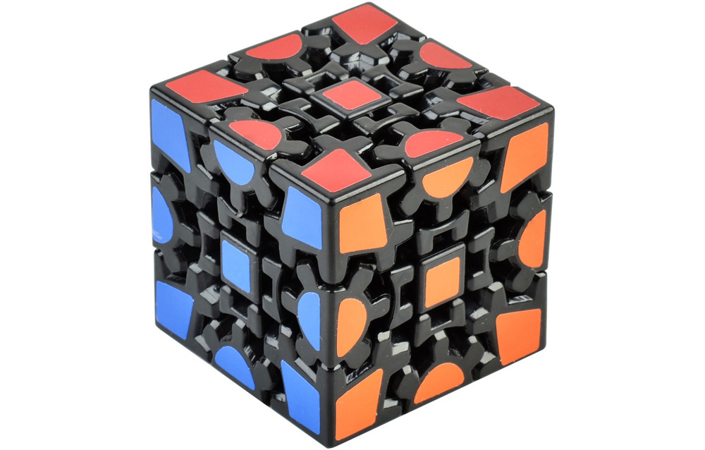 3D Gear Magic Cube 3 x 3 x 3 Black Base Colorful Cool Brain Teaser Educational Toy
