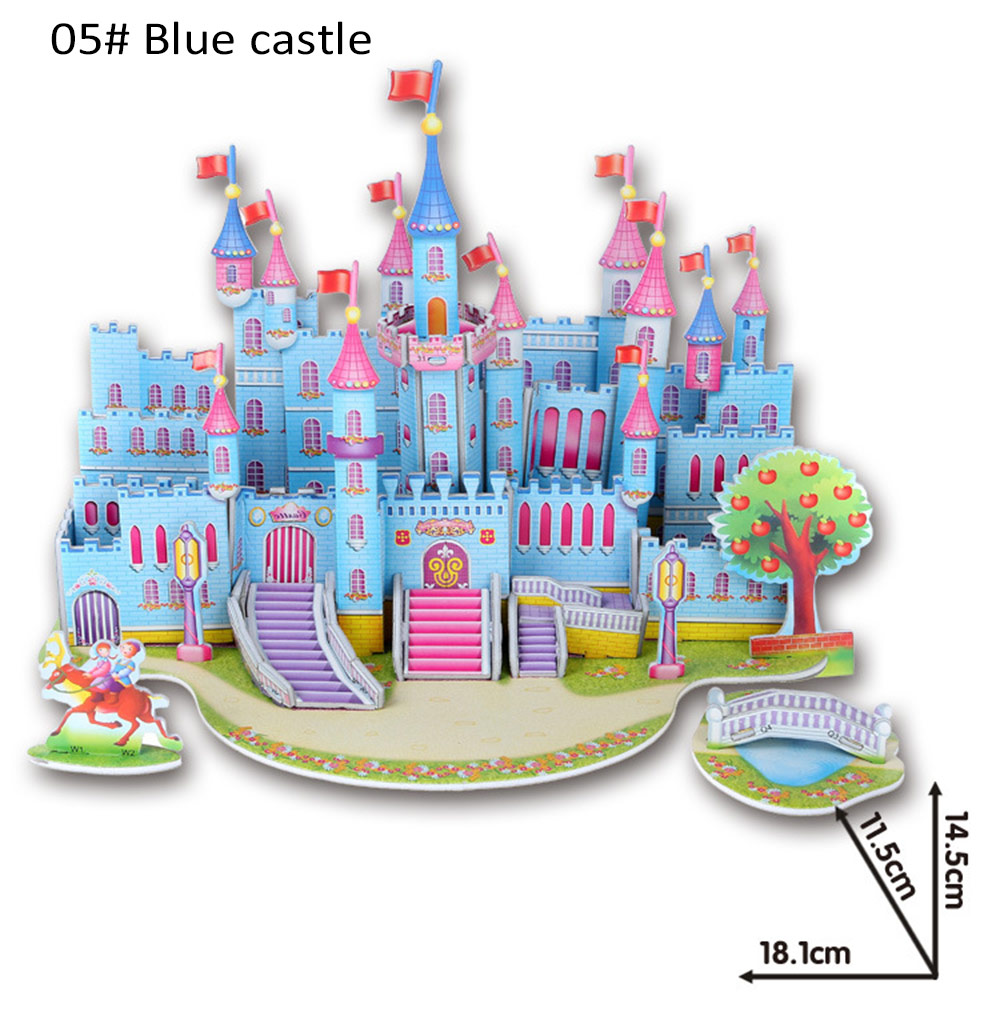 3d diy jigsaw puzzle lovely cartoon castle house construction