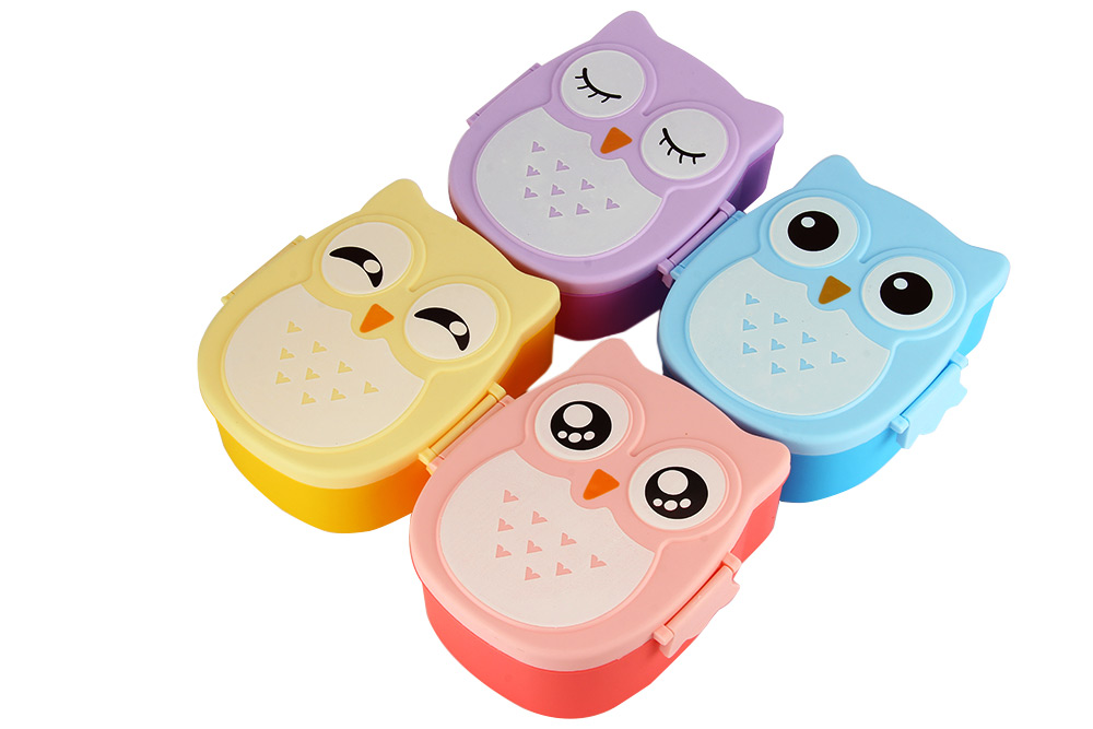 Cartoon Owl Lunch Box Food Container Storage Bento Microwave for Children Kids- Pink