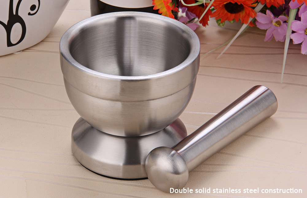 Double Stainless Steel Mortar and Pestle Pedestal Bowl Garlic Press Pot Herb Mills Mincers- Silver