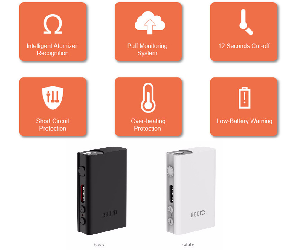 Original Smok R80 80w Tc Box Mod 4961 Free Shipping Low Battery Cutoff Circuit Provides Multiple Types Of Protections To Safe Guard Against Potential Risk Silicone Case Protects Your