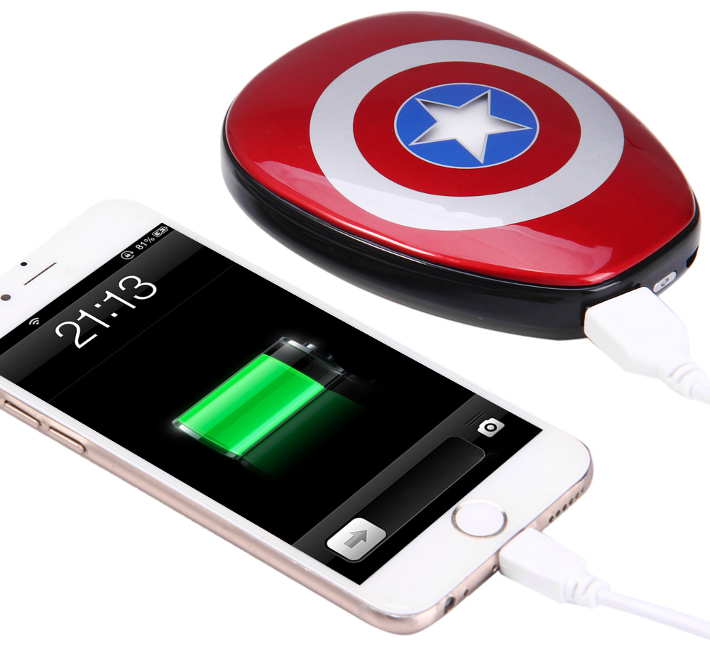 028c34a3d49241 Captain America Shield 12000mAh Mobile Power Bank with Indicator Lights 5V  2A Output Fast Charging-