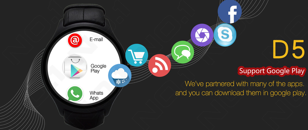 NO 1 D5 Android 4 4 Smart Watch WIFI GPS Smartwatch