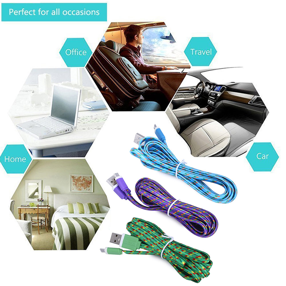 2M Micro USB Flat Braided Synchronization Charger Cable Cord Adapter for Android Smart Phones