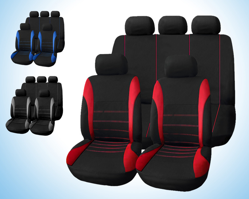 T21620 Universal Car Seat Cover 9 Set Full Seat Covers for Crossovers Sedans- Blue