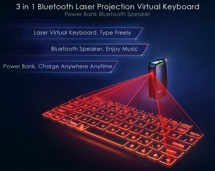 Cager bk50 3 in 1 bluetooth laser projection virtual keyboard fast and accurate data input and english qwerty keyboard layout detection rate over 350 characters per minute and low power consumption ccuart
