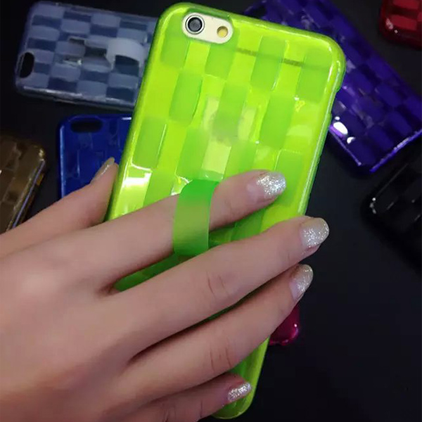 Hat-Prince Tempered Glass Screen Film Protective Case for iPhone 6 / 6S with Weave Pattern TPU Material Stand Function