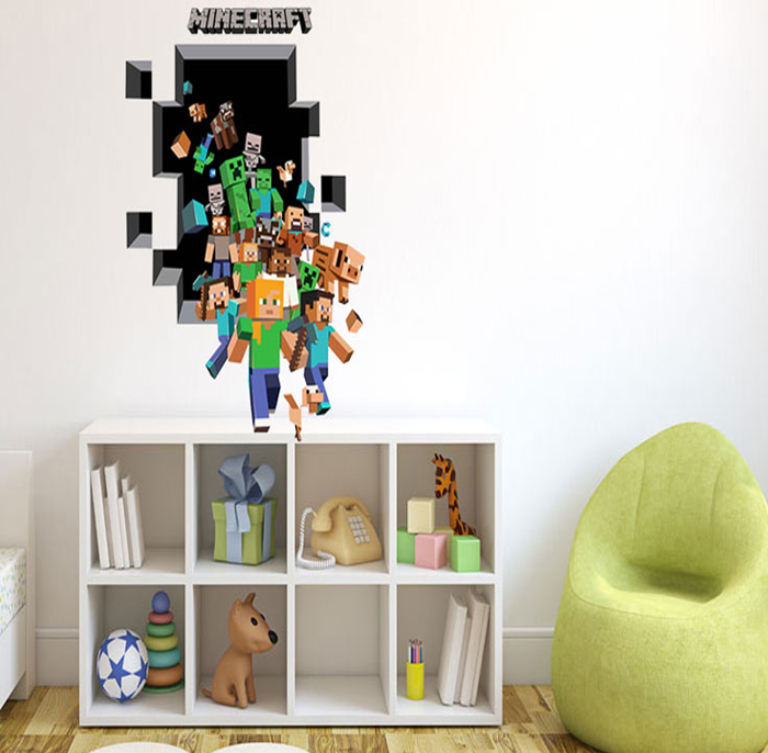 pvc minecraft running design 3d wall decals - $5.52 free shipping