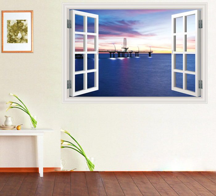 3D Wall Decals Removable Harbour Night Design Water Resistant PVC Wallpaper