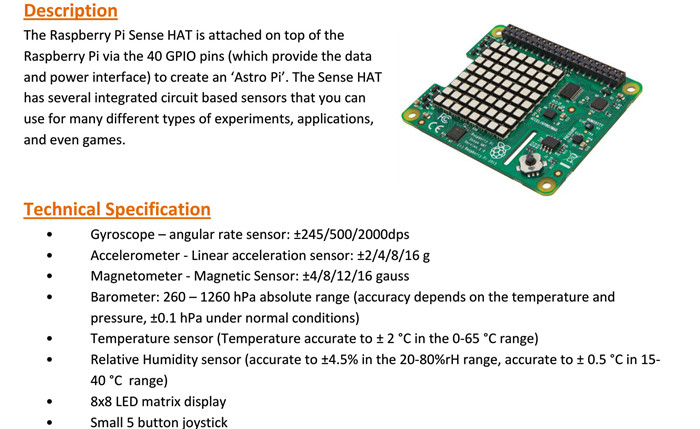 Sense HAT Expansion Board with LED Matrix Display for Games- Green