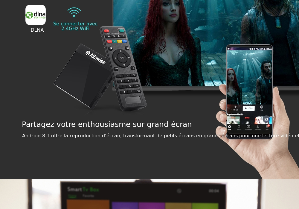 Alfawise A9 4K TV Box Amlogic S905 Android 81 Noir Prise Américaine 2 broches
