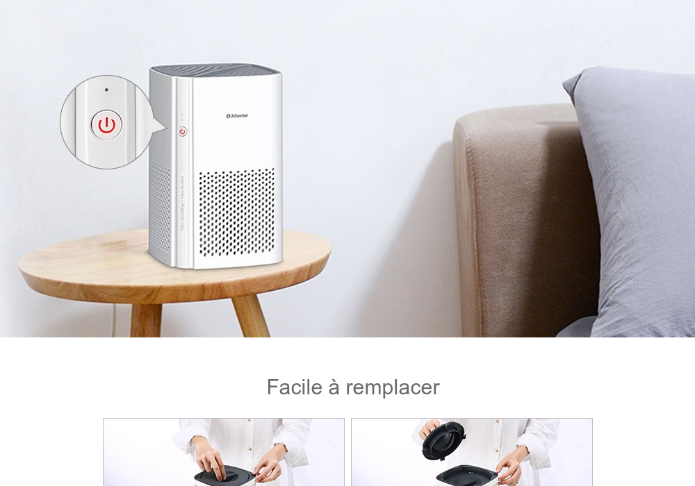 Alfawise P1 Mini Purificateur d'Air HEPA pour Bureau Blanc Purificateur d'air entrepôt EU