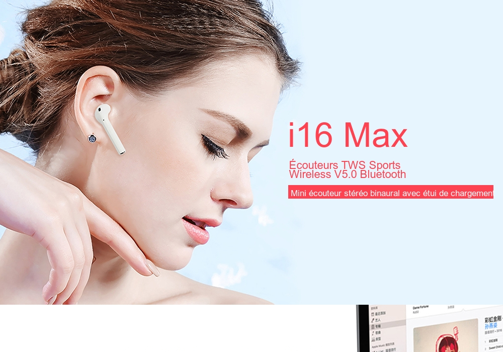 Ecouteurs Sans Fil i16 Max Mini Sports Earbuds Bluetooth 5.0