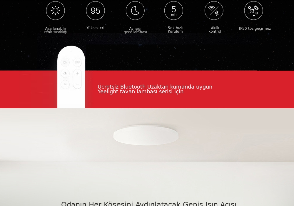 Yeelight JIAOYUE YLXD17YL 480 LED Ceiling Light Smart APP / WiFi / Bluetooth Control 200 - 240V with Remote Controller ( Ecosysterm Product ) - White Starry Lampshade