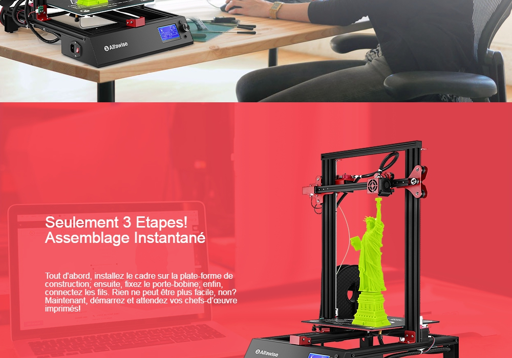 Alfawise U20 ONE Double Z-axis 3D Printer Instant Assembly - Black Touch Screen EU Plug