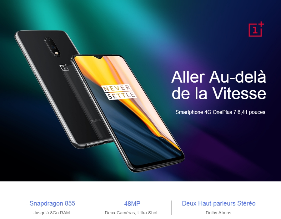 Smartphone 4G OnePlus 7 6,41 pouces 8Go RAM 256Go ROM Version Internationale- Gris