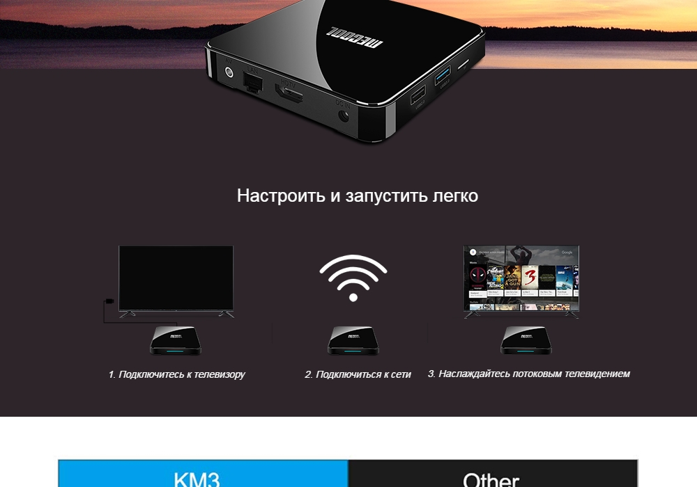 MECOOL KM3 Android 9.0 Voice Control TV Box Google Certificated Amlogic S905X2 2.4G + 5G WiFi Bluetooth 4.1 USB 3.0 Support 4K - Black 4GB RAM+64GB ROM US  Plug