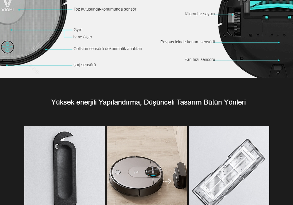 VIOMI V2 Pro Robot Vacuum Cleaner 3 Cleaning Mode LDS Sensor APP Virtual Wall Self-charging 2 in 1 Sweeping Mopping - Natural Black