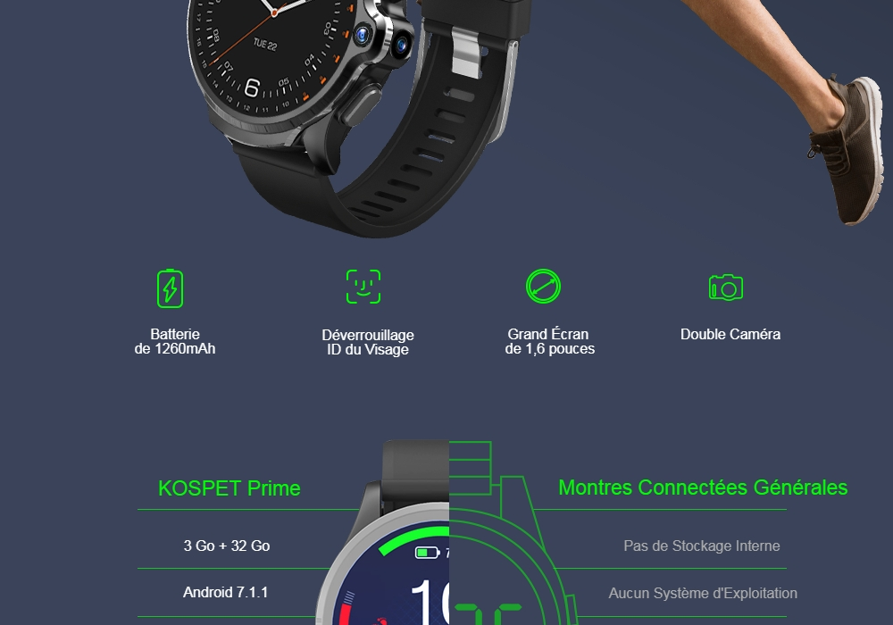 KOSPET Prime 4G Smart Watch Phone 1.6 inch Screen Dual Lens 1260mAh Battery - Black