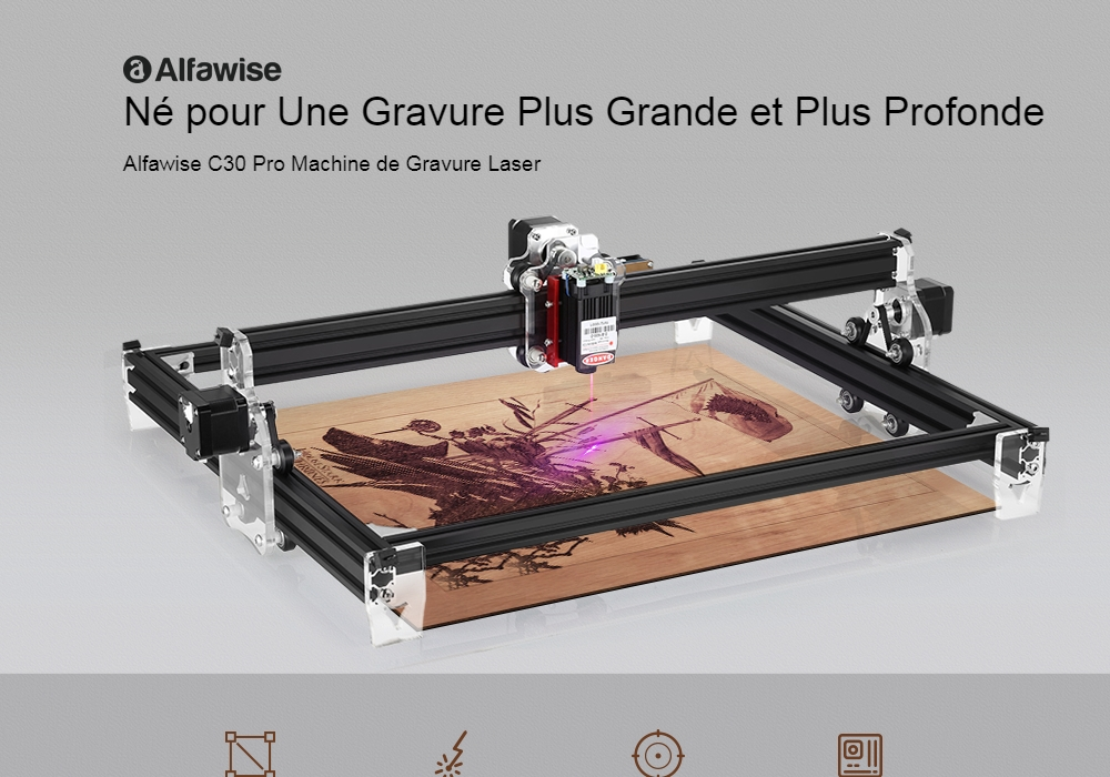 Alfawise C30 Pro 3000mw Simple Frame Laser Engraving Machine - Black