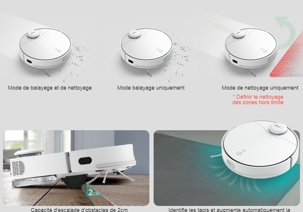 360 S6 Pro Laser Navigation Wet and Dry Robot Vacuum Cleaner RF Omnidirectional + APP Dual Remote Control 5200mAh Battery 2200Pa Suction Power - White