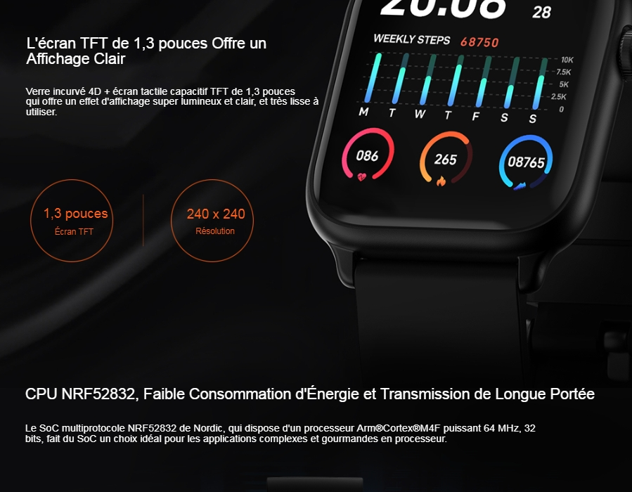TICWRIS GTS Real-time Body Temperature Detect Smart Watch Heart Rate Monitor Sports Smartwatch - Black