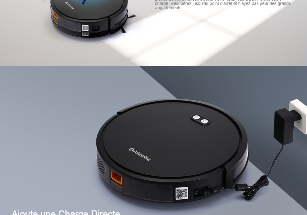 Alfawise V8S Max Wet and Dry UV Sterilization Robot Vacuum Cleaner - Black Upgraded