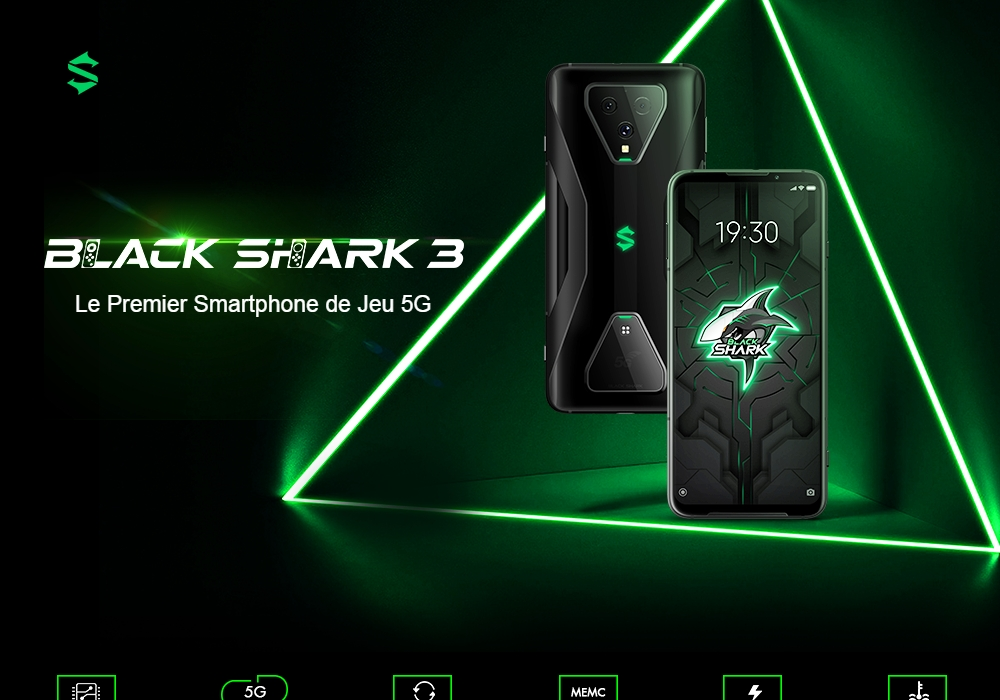Black Shark 3 5G Gaming Smartphone Snapdragon 865 Octa Core 6.67 inch 64MP + 13MP + 5MP Camera Global Version - Black 12GB+256GB